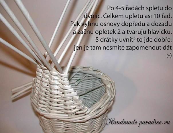 плетение из газет. корзинка пасхальный заяц (8)