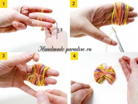 Разноцветные помпоны для брелка