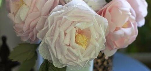 Чайные розы из папиросной бумаги