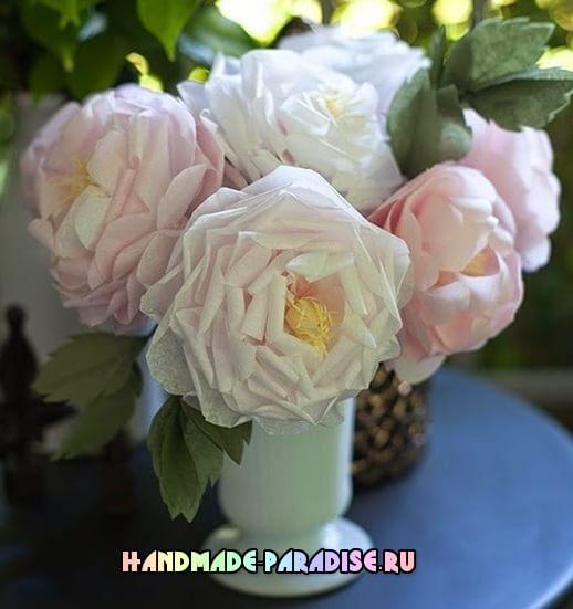 Чайные розы из папиросной бумаги (3)