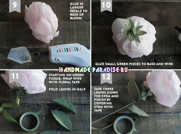 Чайные розы из папиросной бумаги (6)