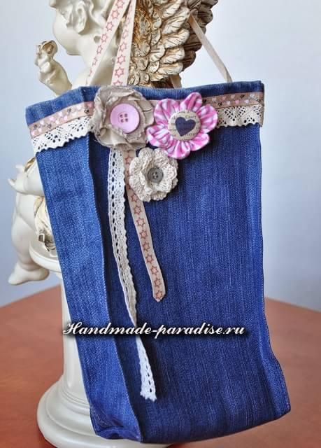 Как сшить сумочку-мешочек из джинсов (4)