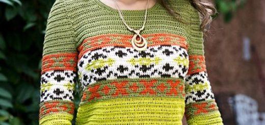 Летний разноцветный пуловер крючком