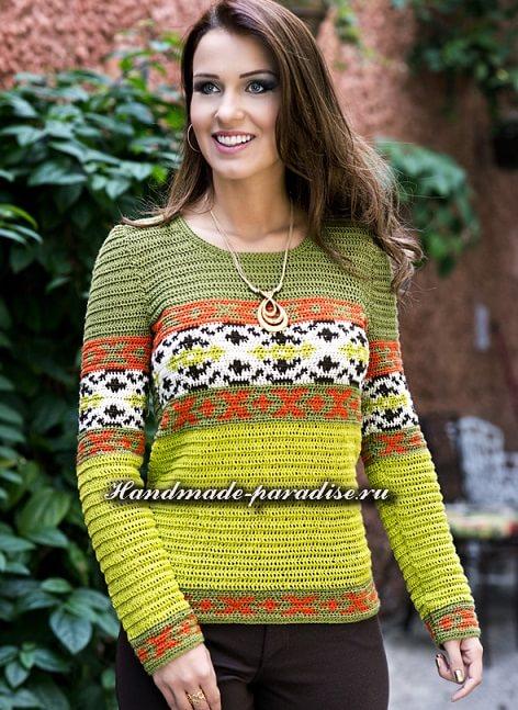 Летний разноцветный пуловер крючком (3)