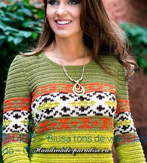 Летний разноцветный пуловер крючком (5)