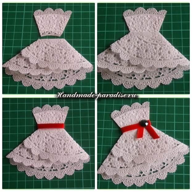 Открытка к 8 марта платье из салфеток, любов