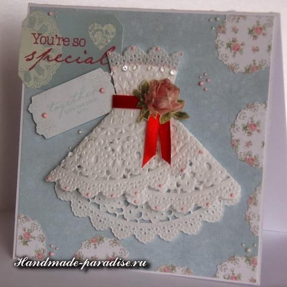 Открытка с платьем из салфетки (4)