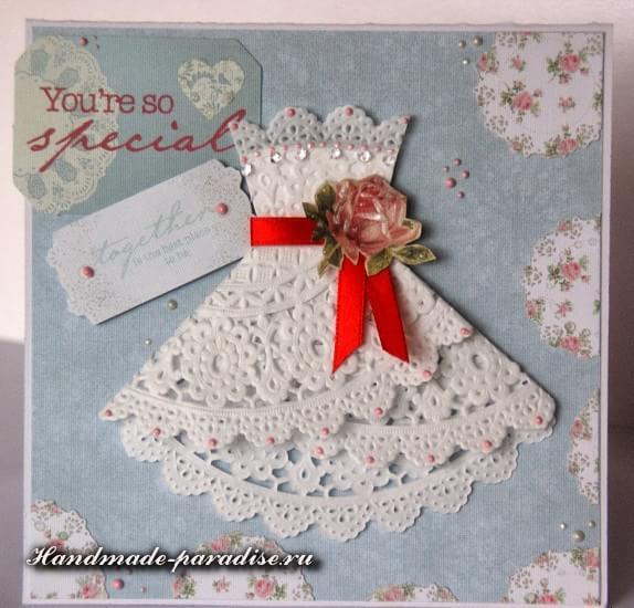 Открытка с платьем из салфетки (5)