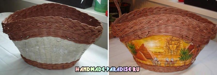 Плетение сумки из газетных трубочек
