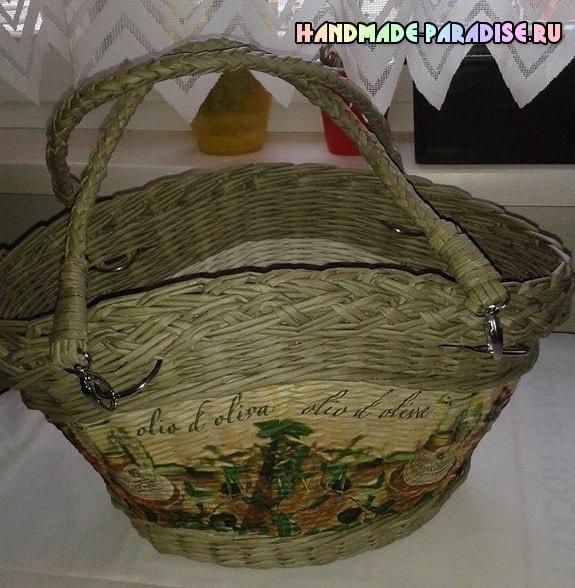 Плетение сумки из трубочек