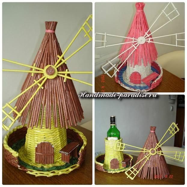 Мастер-класс. Плетение ветряной мельницы из газет (10)