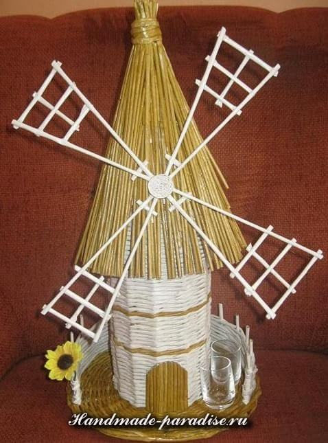 Плетение ветряной мельницы из газет (11)