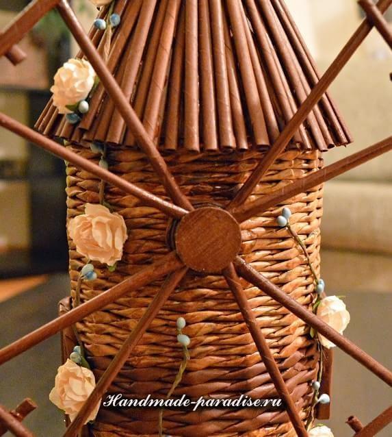 Плетение ветряной мельницы из газет (2)