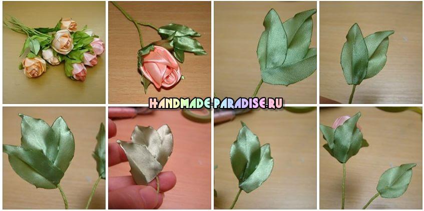 Розы из атласных лент (3)