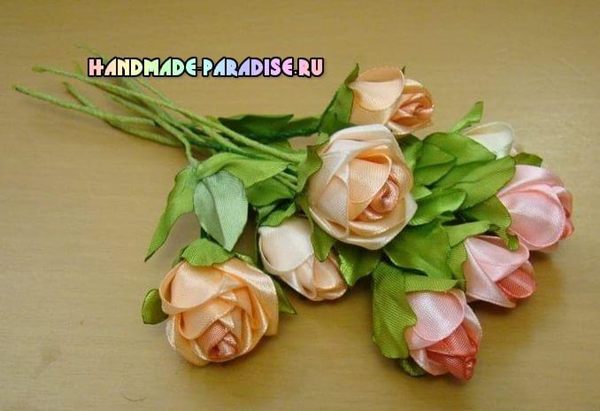 Розы из атласных лент. Мастер-класс (4)