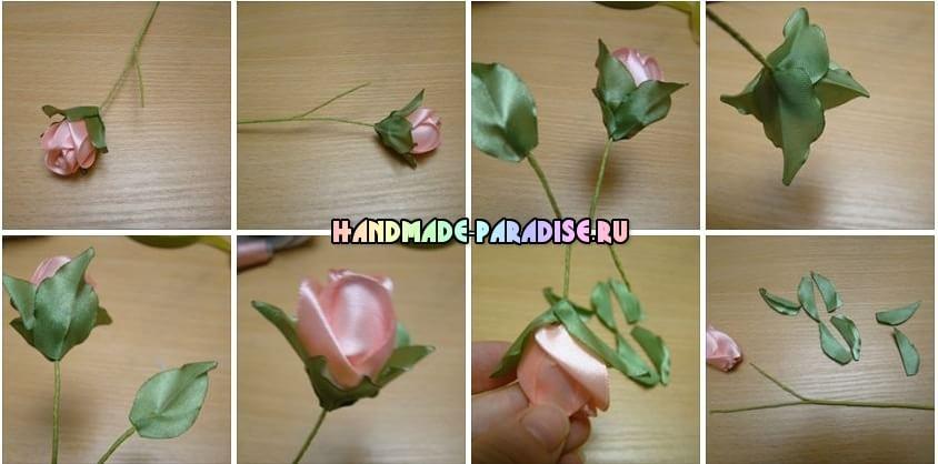 Розы из атласных лент (5)