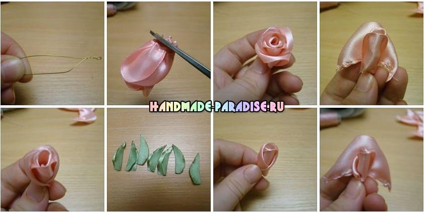 Как сделать розу из атласных лент (8)