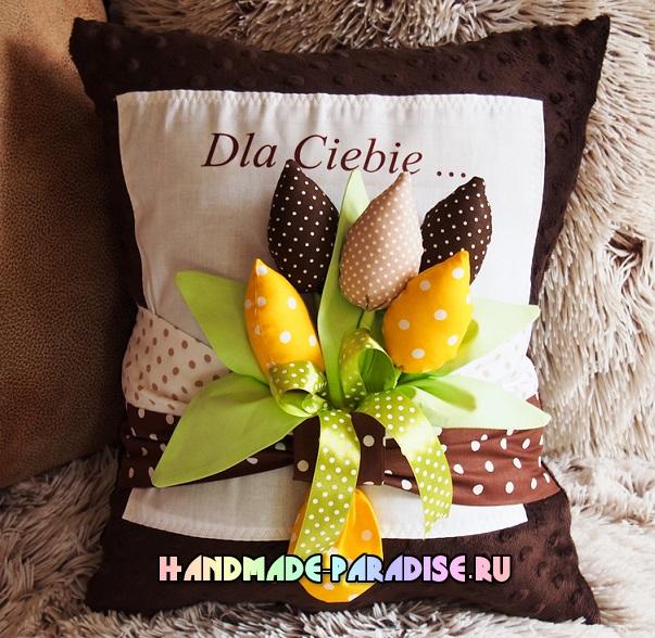 Подушки с тюльпанами из ткани (11)