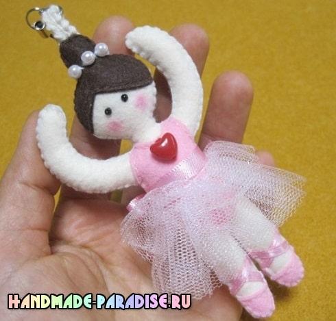 Балерина - брелок из фетра своими руками (10)