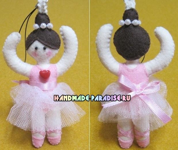 Балерина - брелок из фетра своими руками (11)