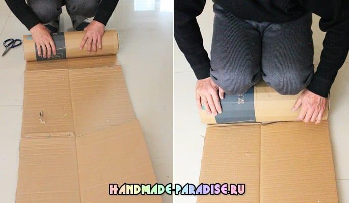 Банкетка своими руками из джинсов и картона