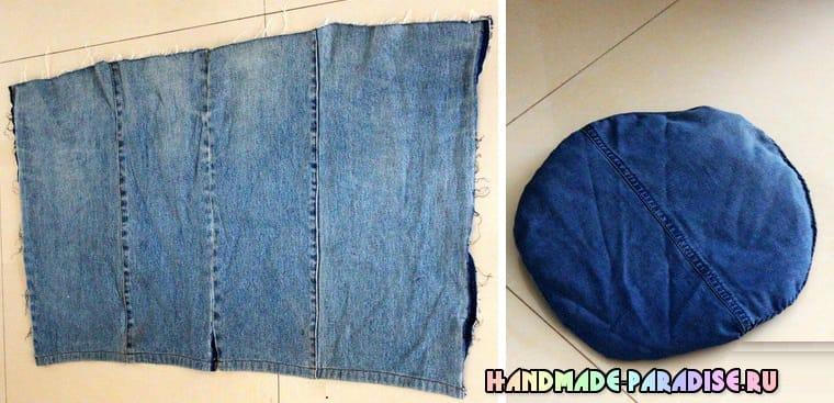 Банкетка своими руками из джинсов и картона (3)