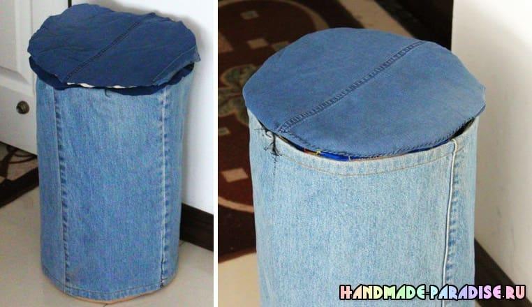 Банкетка своими руками из джинсов и картона (4)