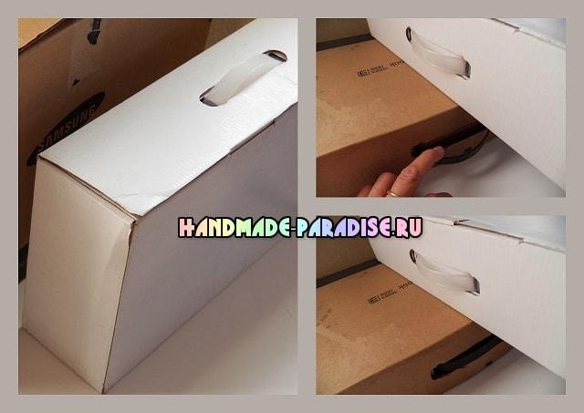 Чемодан из коробки с декором в технике декупаж (2)