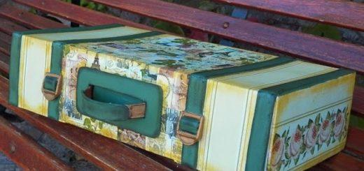 Чемодан из коробки с декором в технике декупаж