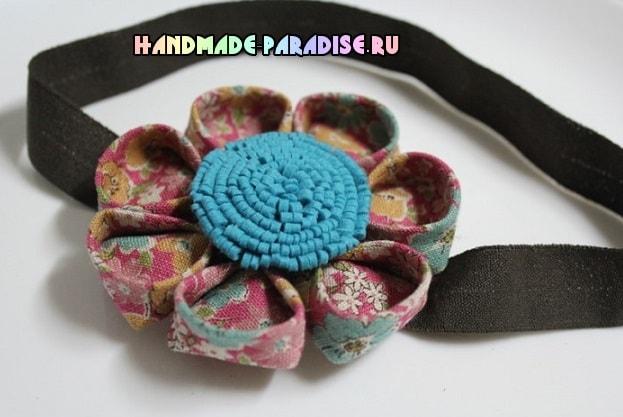 Детская повязка на голову с цветком канзаши (2)