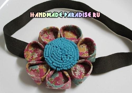 Детская повязка на голову с цветком канзаши (3)