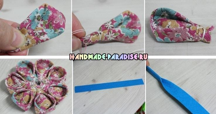 Детская повязка на голову с цветком канзаши (4)