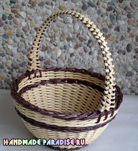 Как сделать форму для плетения корзинки из газет (5)
