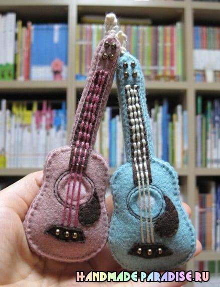 Как сшить гитару - сувенир из фетра