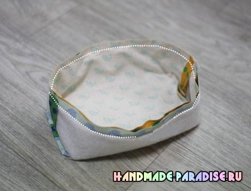 Как сшить корзинку из ткани (6)