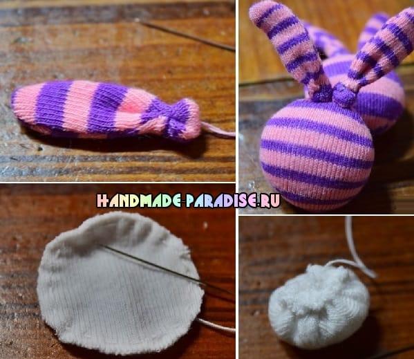 Кролики - детские резиночки из носков (5)