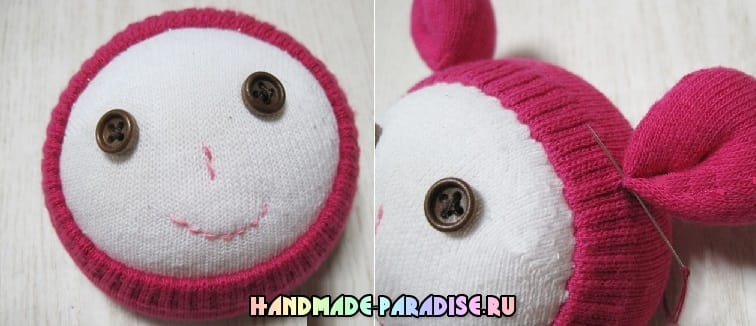 Куколка из носков с яблоком из фетра (10)