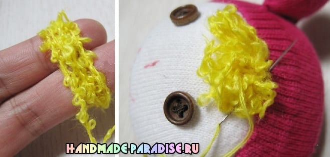 Куколка из носков с яблоком из фетра (11)