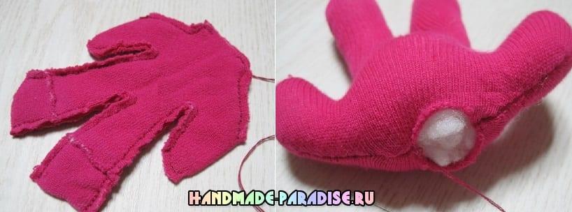 Как сшить куколку из носков с яблоком из фетра (14)