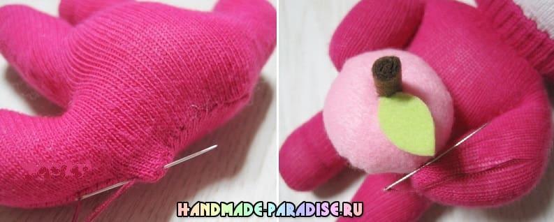 Как сшить куколку из носков с яблоком из фетра (15)