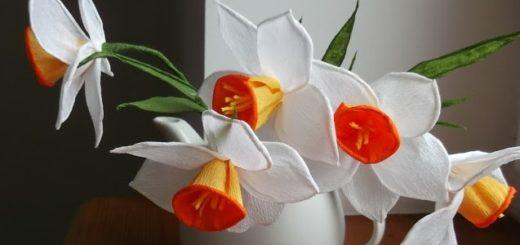Нарциссы из гофрированной бумаги