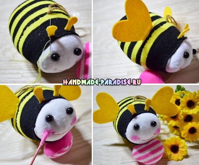 Как сшить пчелку из носочков (13)