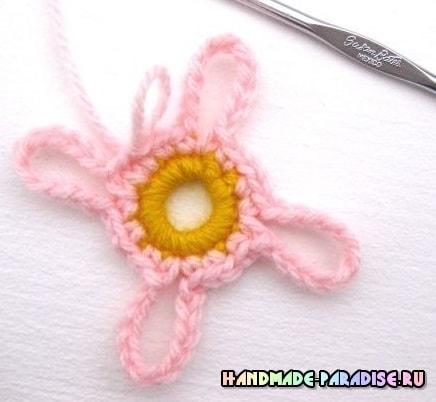 Шаль крючком гавайскими цветами (2)