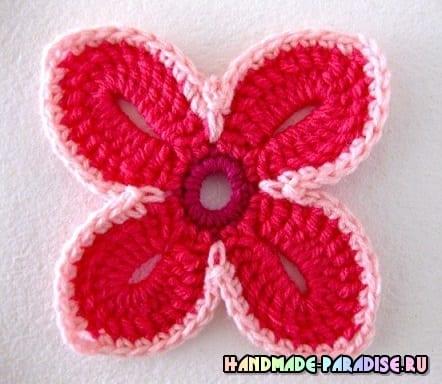 Шаль крючком гавайскими цветами (3)