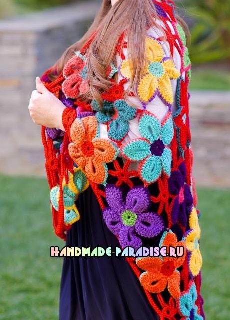 Шаль крючком гавайскими цветами (4)