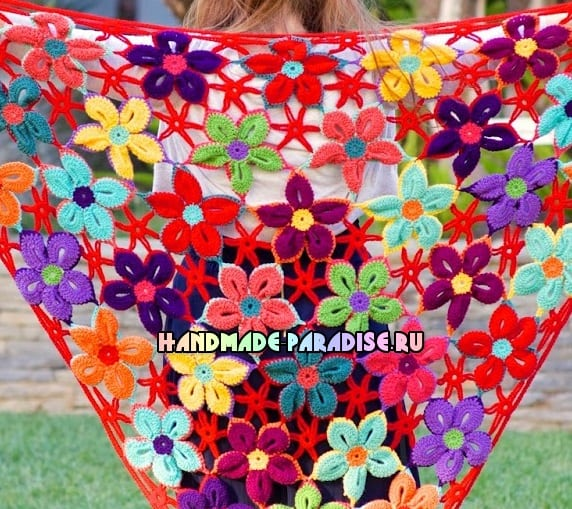 Шаль крючком гавайскими цветами (5)
