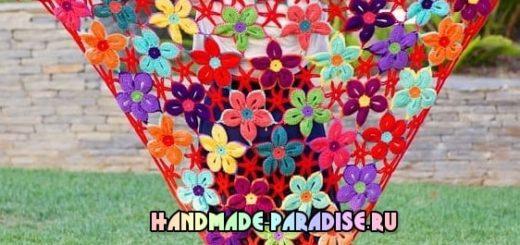 Шаль крючком гавайскими цветами