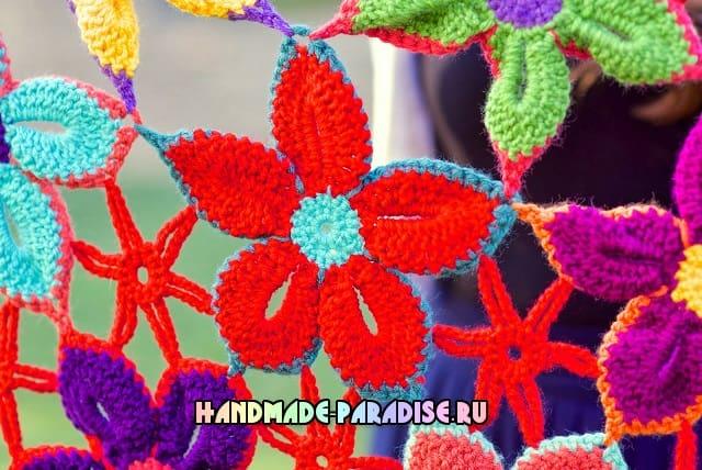 Шаль крючком гавайскими цветами (7)