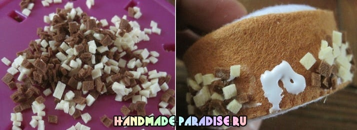 Шоколадно-банановое пирожное из фетра (10)