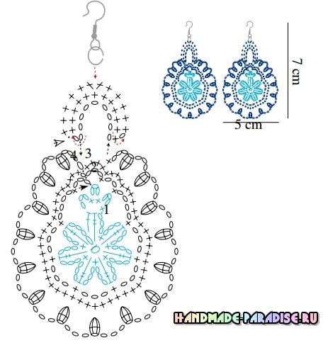 Сережки и ожерелье крючком (5)